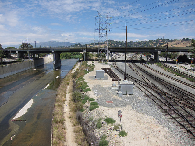 """The Los Angeles River, seen at an industrial area north of downtown LA - photo by """"The City Project"""""""