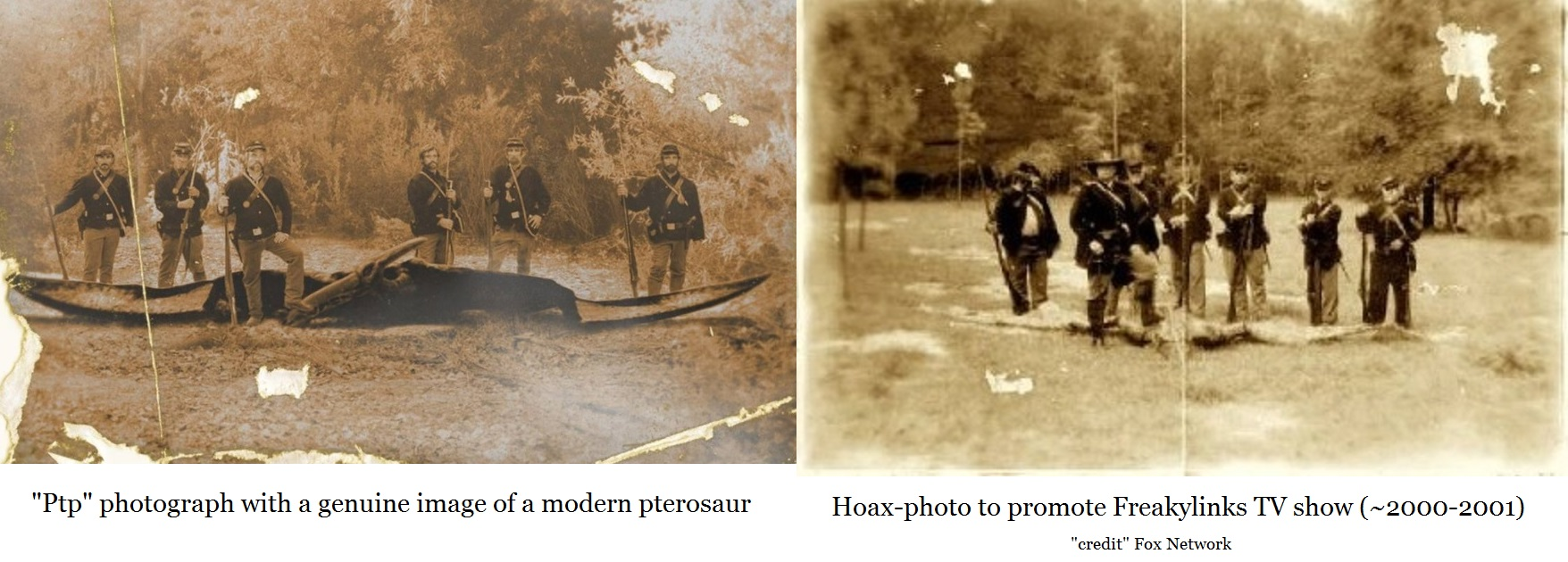 authentic photograph (left) compared with hoax photo (on right)